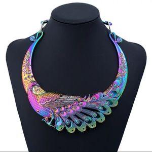 Jewelry - NWT Rainbow Peacock Choker Statement Necklace